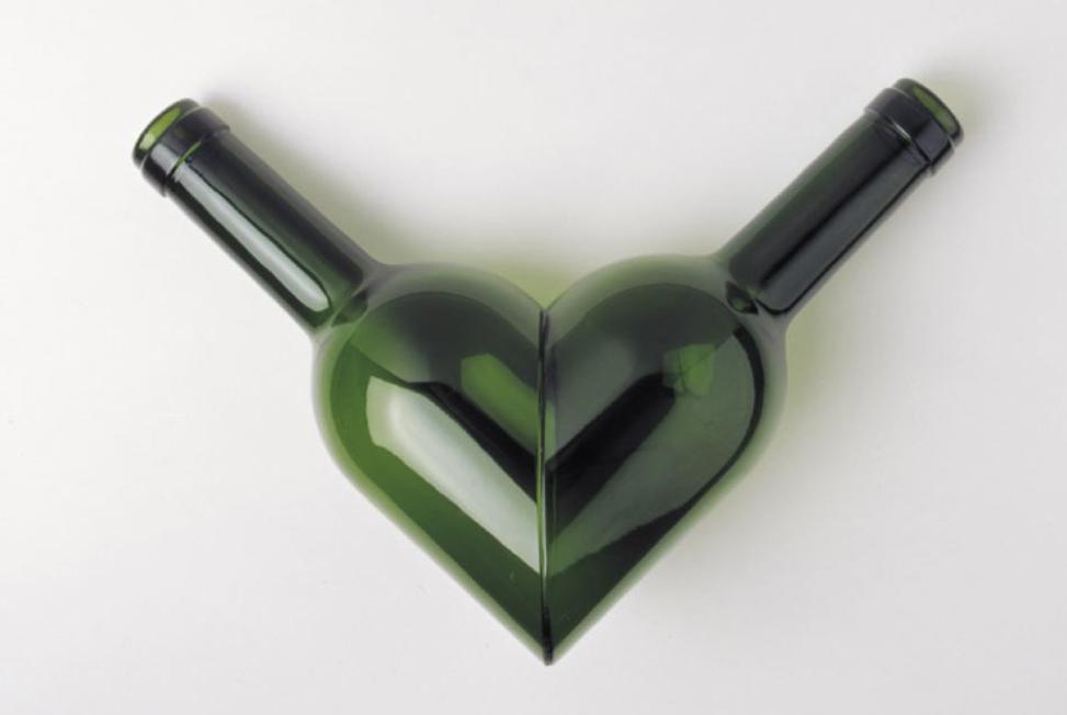 Love wine bottle art antonio cos openhouse for Wine bottle artwork